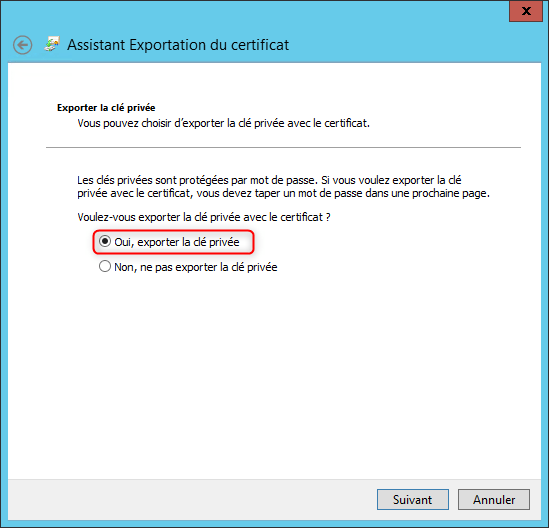 Export Certificate and private key