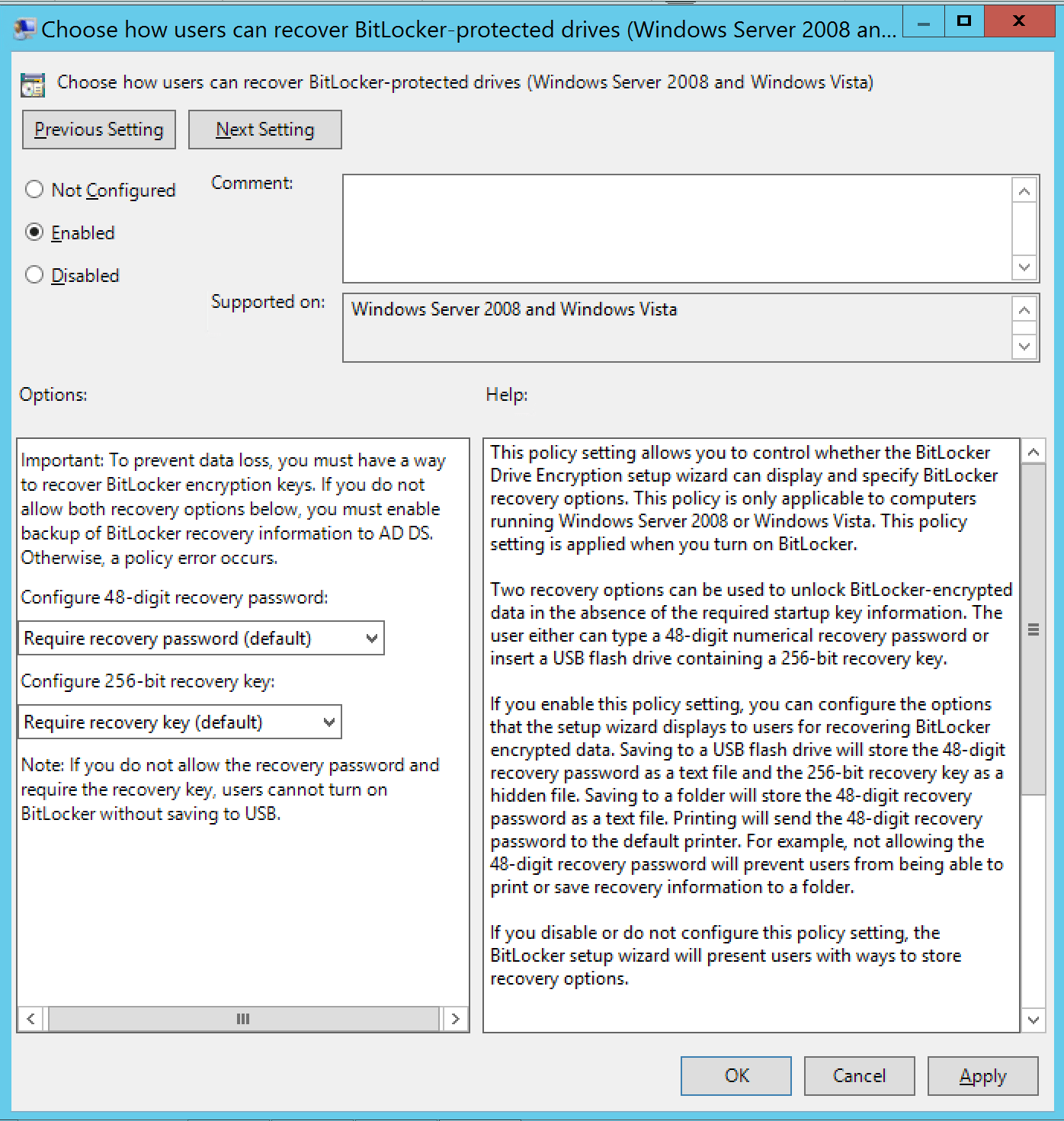 Choose how users can recover Bitlocker