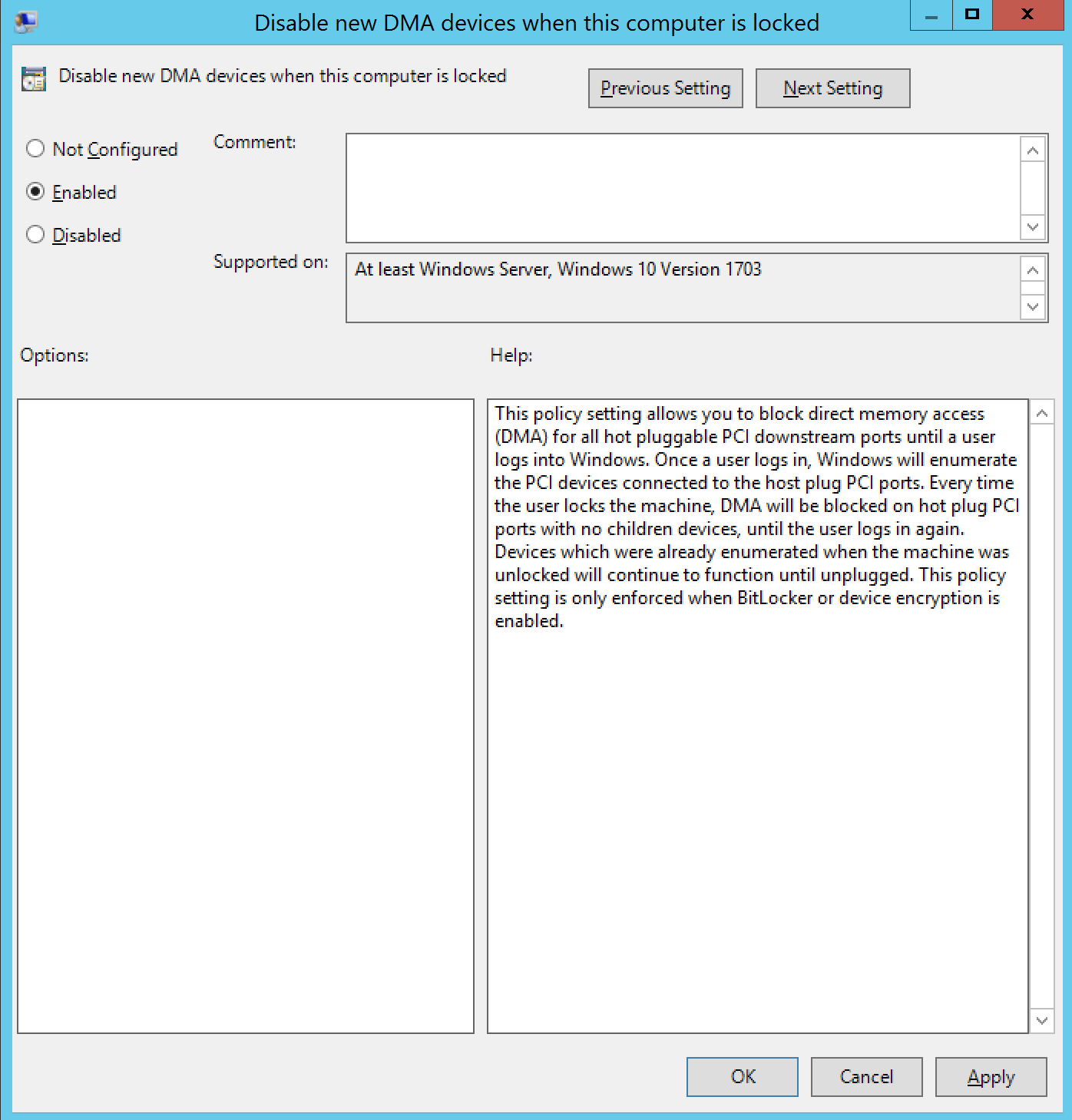 Disable new DMA devices