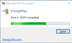 Encryption of the disk start