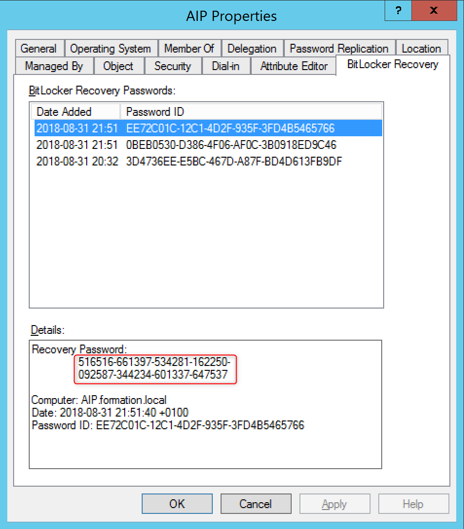 View recovery key bitlocker on Active Directory