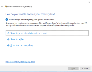 Save recovery key on Azure