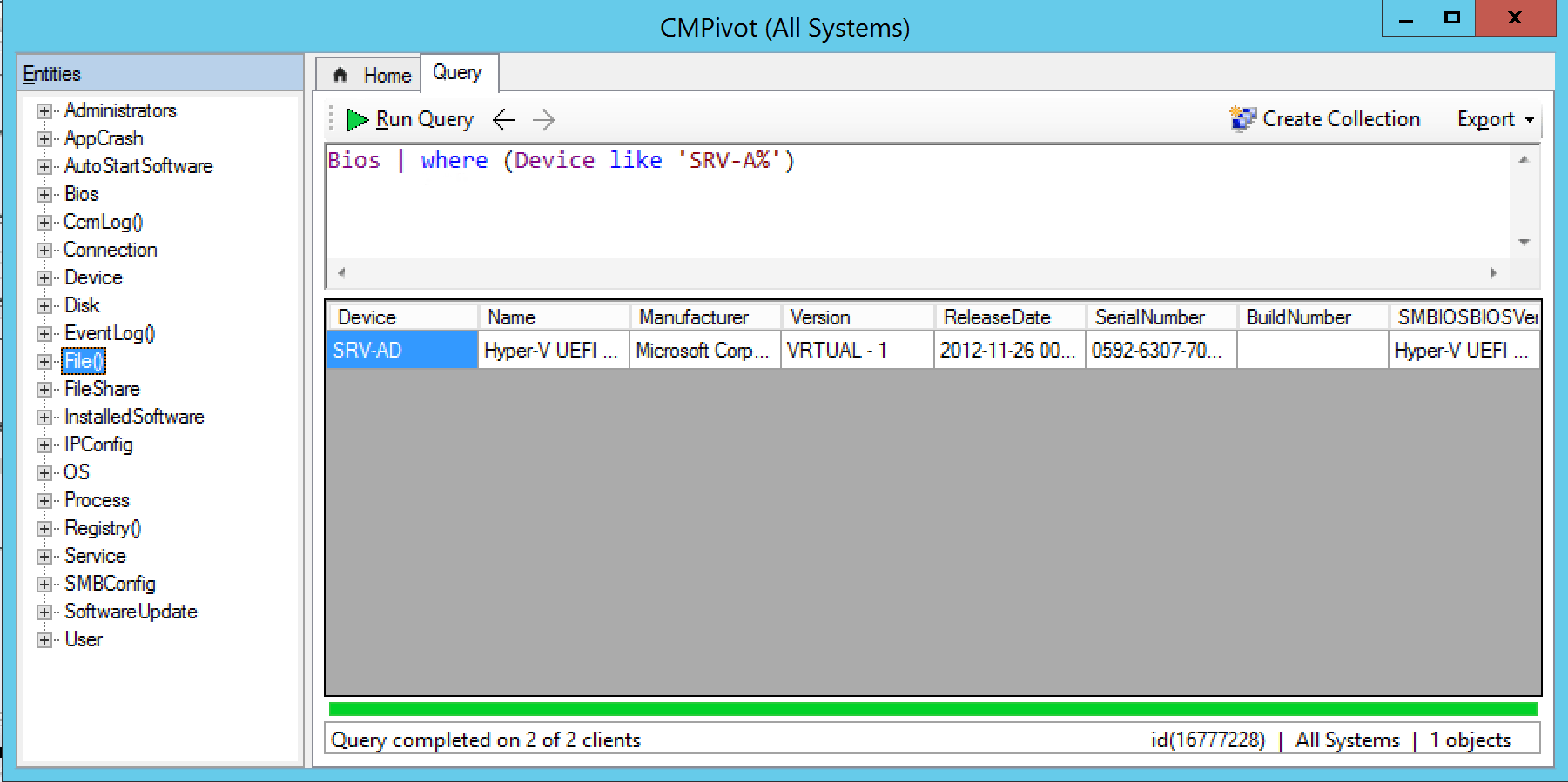 Result on CMPivot Windows