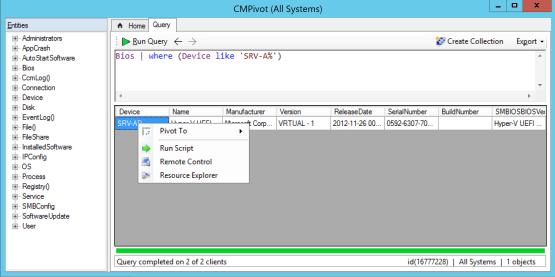 Action on CMPivot Windows