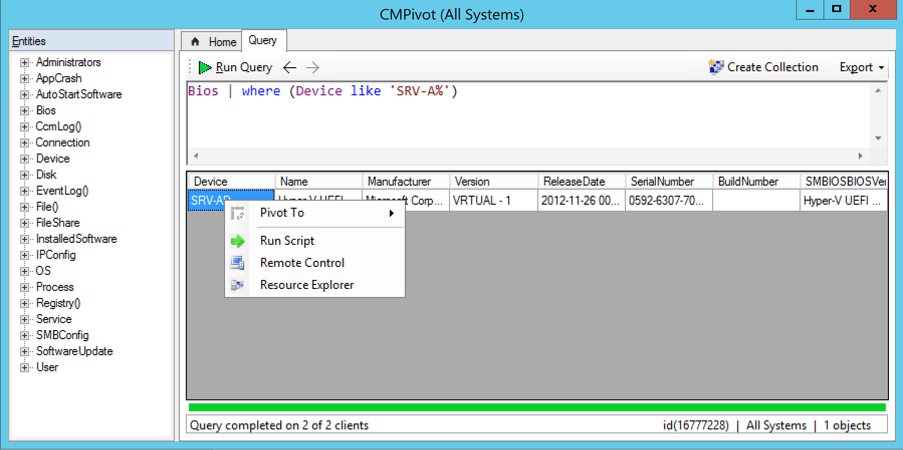 Action on CMPivot Windows