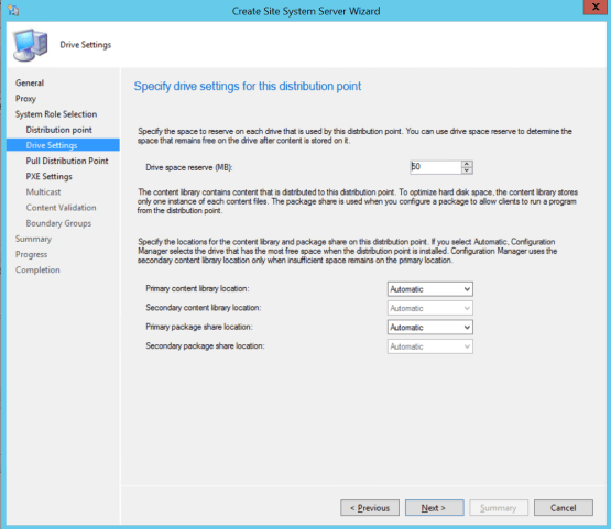 Select location for distribution point SCCM