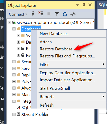 Site Server high availability Restore SCCM database.