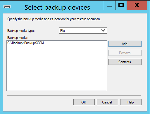 Site Server high availability Select Backup file