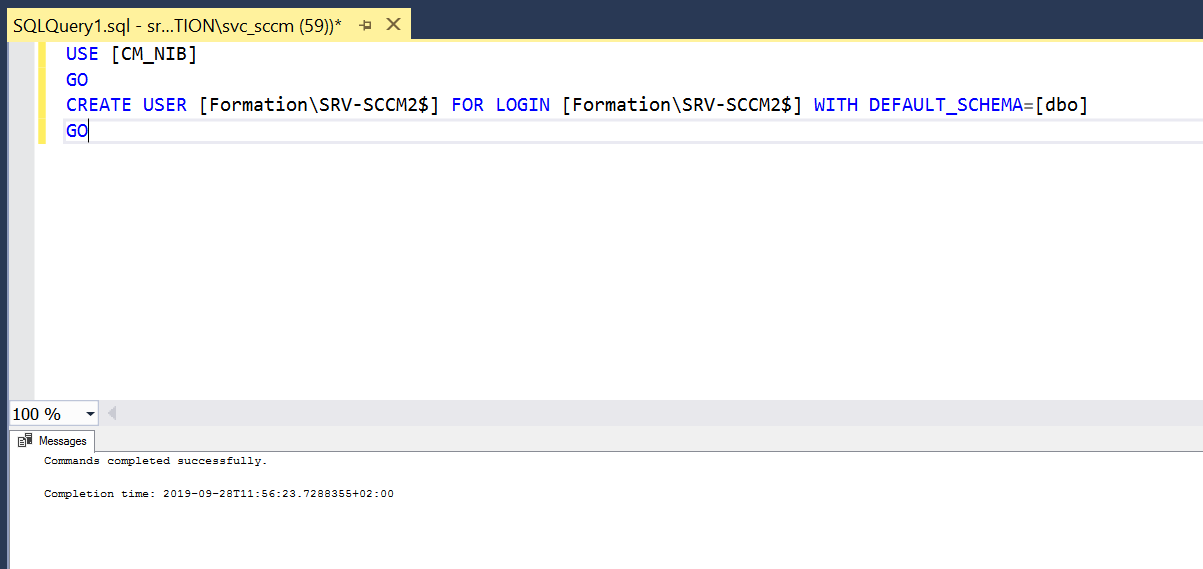 Allow the access to sql database