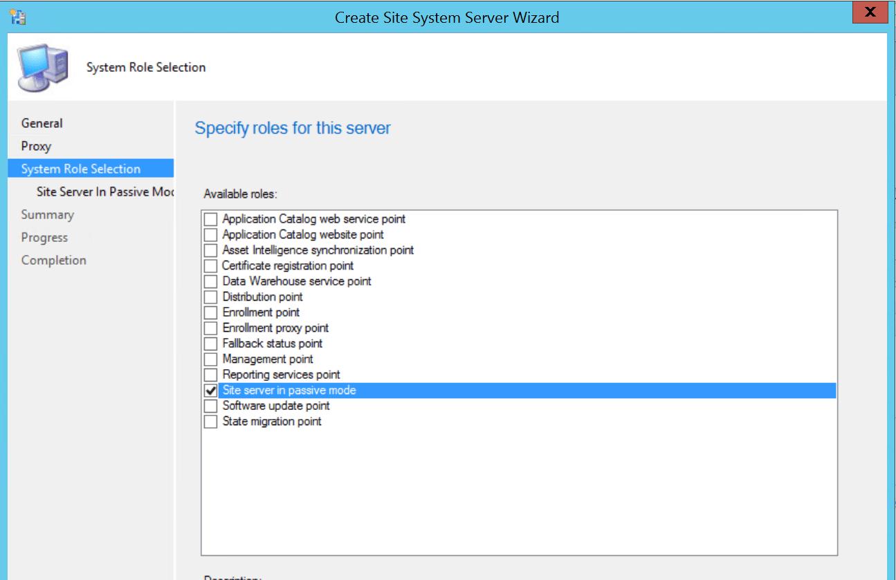 Select Site Server in passive mode