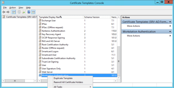 Using MBAM with SCCM - Manage Template certificate - Duplicate Template