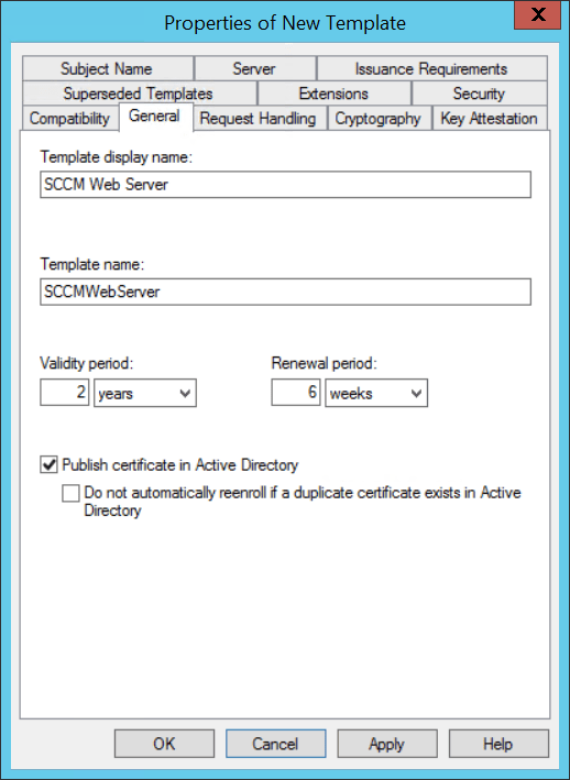 Using MBAM with SCCM - Manage Template certificate - Create Template