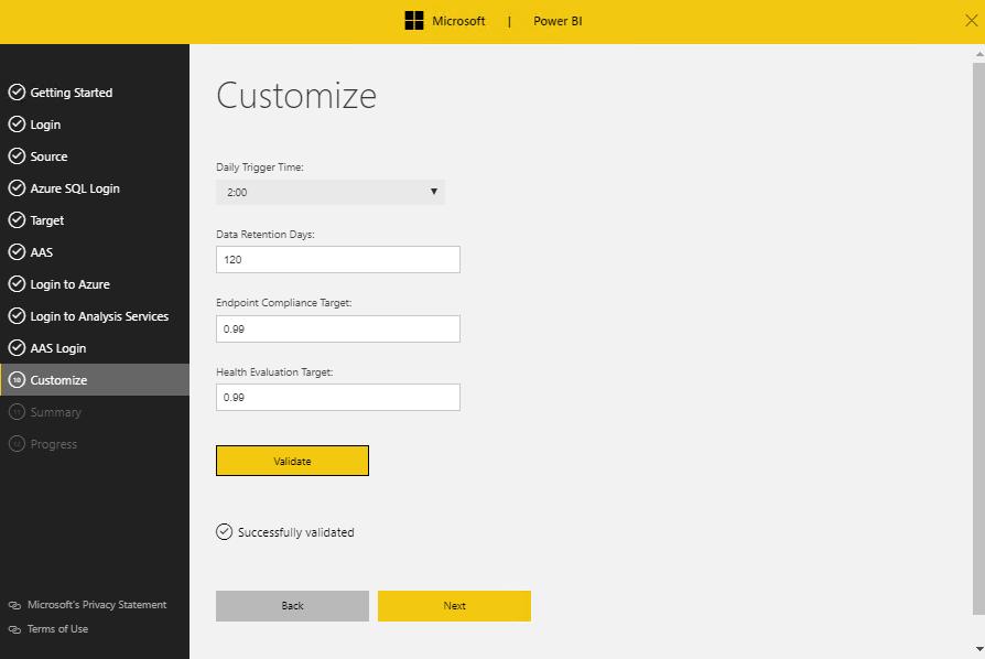 Customize option for Power BI
