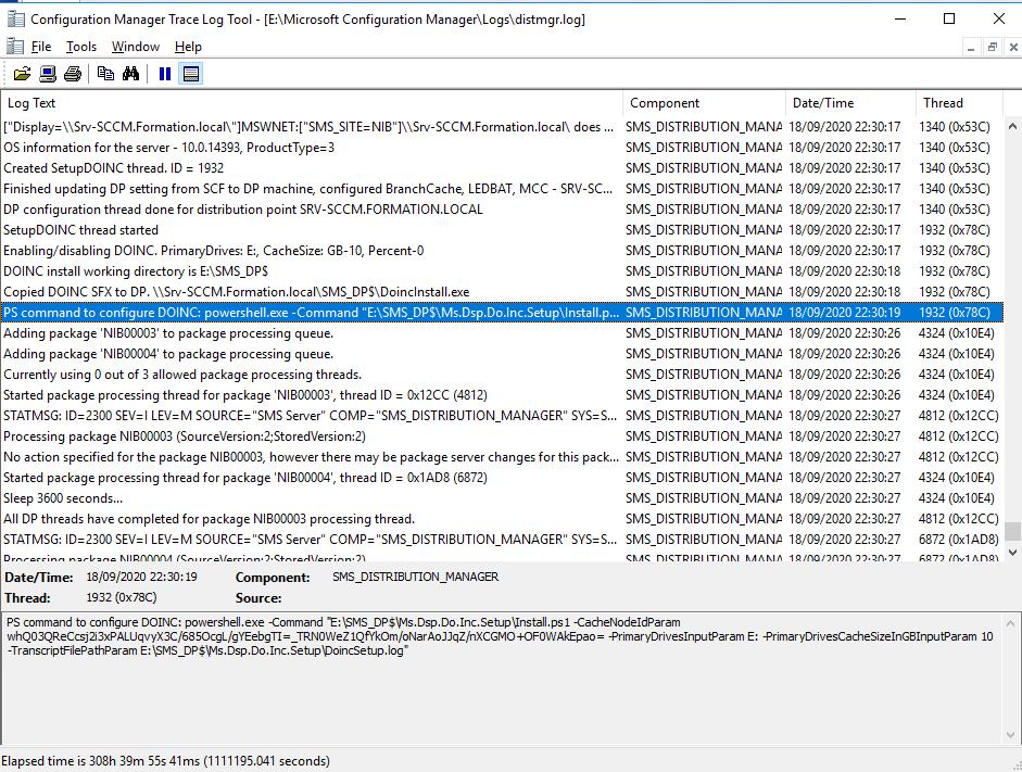Log for verify installation