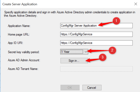 Admin credential and name of the application