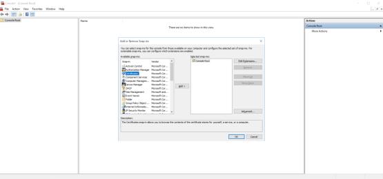 Add Certificate Snap-in