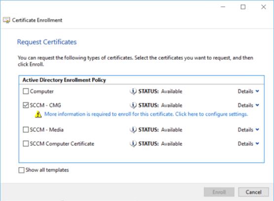 Request new certificate