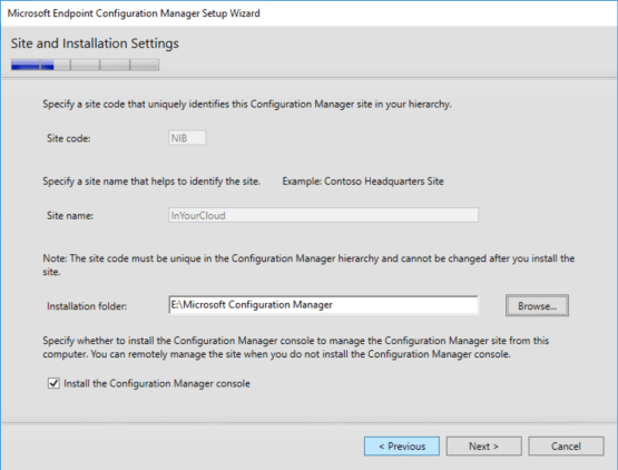 Configure Install folder