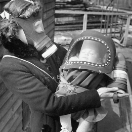 gas mask mother and child