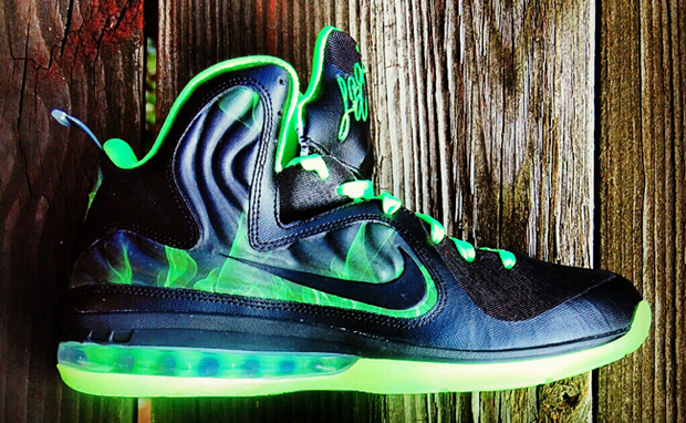 High Quality Nike Lebron 9 iD Foamposite Black Grey Green