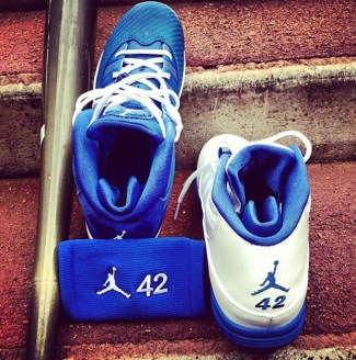 """038242135f3c Jimmy Rollins' Jordan 6 Rings """"42"""" PE Cleats for Jackie Robinson Day"""