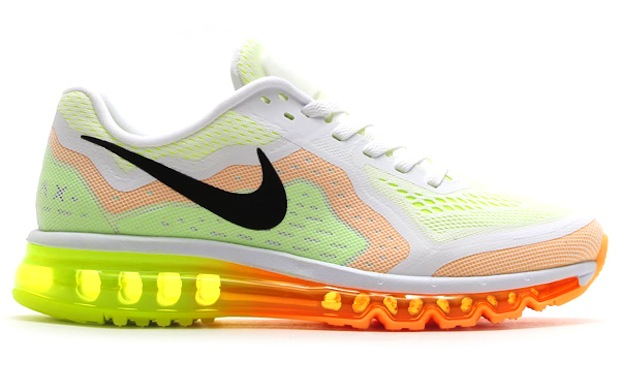 Men's Nike Air Max 2014 White Atomic Mango Volt Sneakers : K81s6011