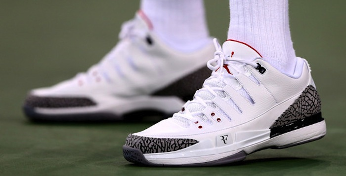 b61b4cca317e Roger Federer debuts NikeCourt Zoom Vapor AJ3 by Jordan