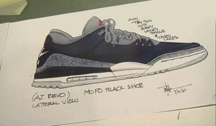 Tinker Hatfield's sketch of the Nike Air Jordan 3 (1987)