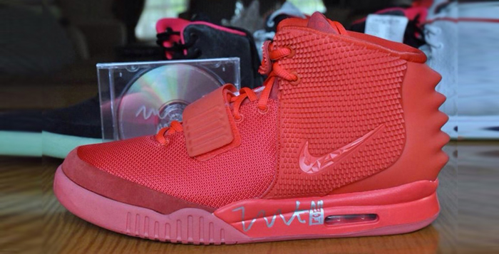 """74c04be5a82e7 ... Kanye West Signed """"Red October"""" Yeezy 2s On Sale for 15"""