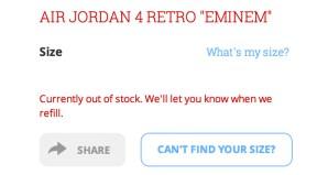 Eminem Air Jordan 4s 37500 at Flight Club sold