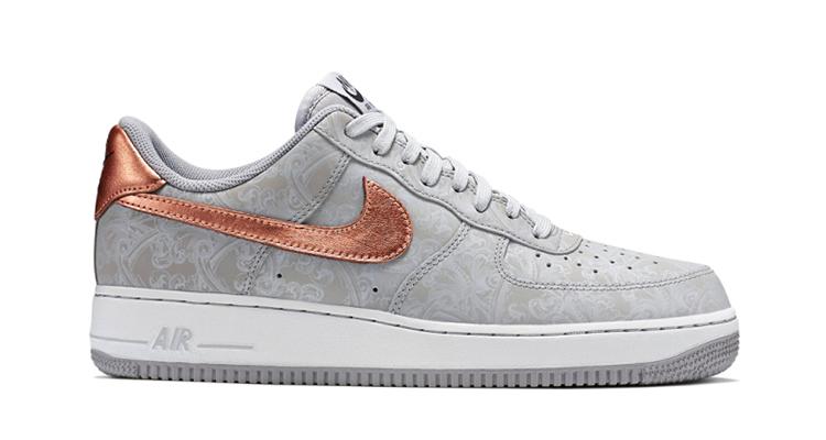 nike air force 1 basso lupo grigio / bianco metallico rosso bronzo belle scarpe