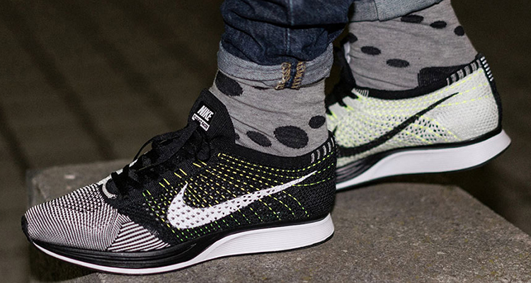 a677c505a422 mens nike flyknit racer white yellow The Popular Nike Flyknit Racer  BlackWhite Gets a Vibrant Update ...