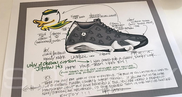 """c7048413b33d9c This Air Jordan 14 """"Oregon Ducks"""" PE is Extremely Limited According to  Tinker Hatfield"""