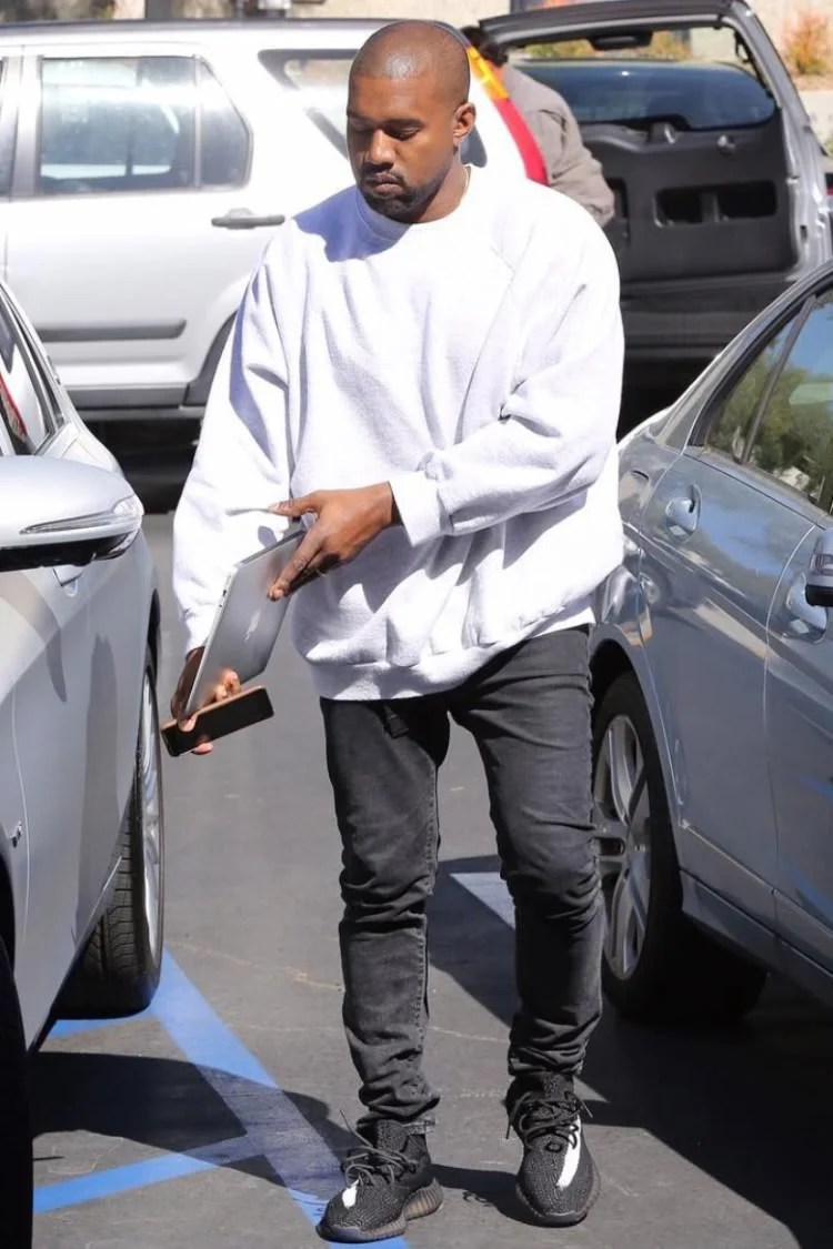 Kanye West Rocks New BlackWhite adidas Yeezy Boost 350