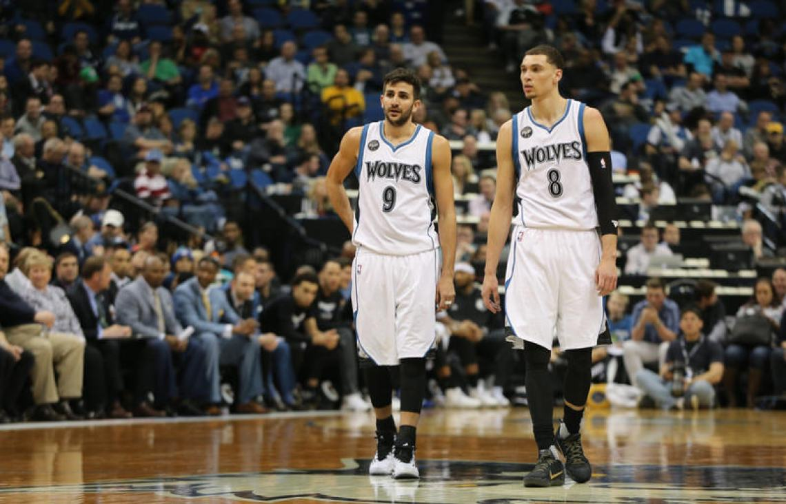 "Ricky Rubio and Zach LaVine in the adidas Crazy Light Boost and the Nike Kobe 11 ""Fade to Black,"" respectively"