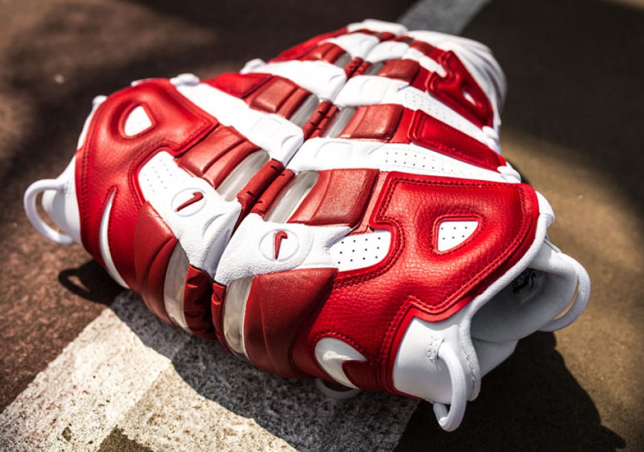 Nike Air More Uptempo White Gym Red