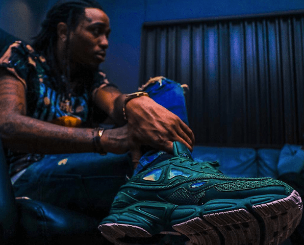 Quavo in the Raf Simons x adidas Ozweego Sneakers