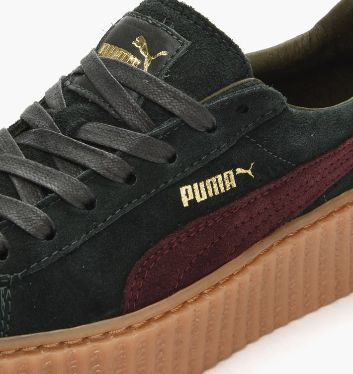 size 40 22b3c c80f4 Rihanna x PUMA Suede Creeper Green/Bordeaux // Detailed Look ...