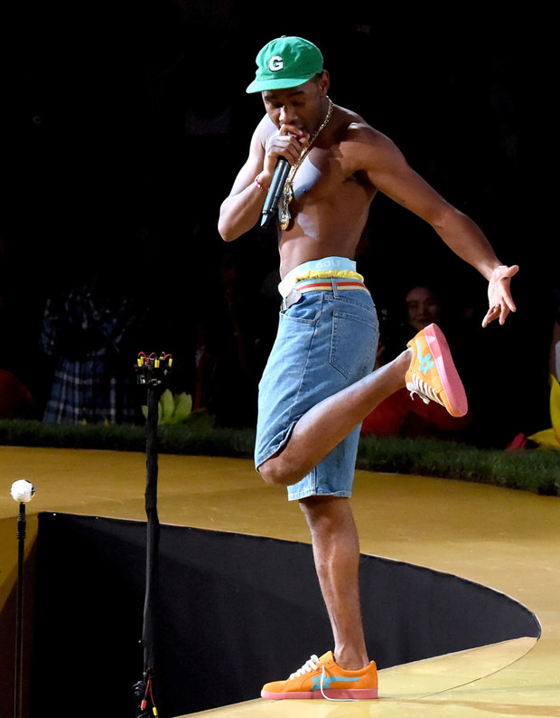 Tyler, the Creator in his Golf Le Fleur sneakers