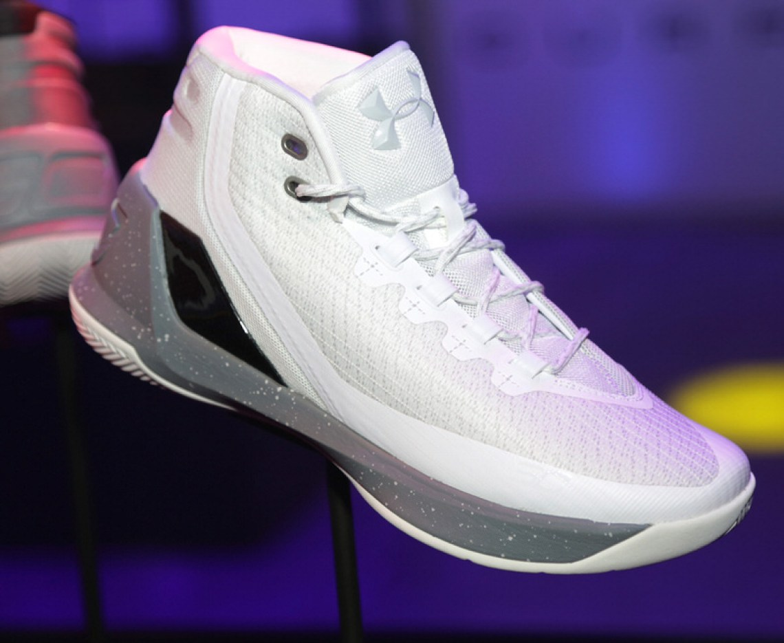 SAN FRANCISCO, CA - OCTOBER 22:  View of The Under Armour Curry 3 during the Under Armour Curry 3 Launch at Skylight Powerhouse on October 22, 2016 in the Bay Area, California.  (Photo by Jerritt Clark/Getty Images for Under Armour)
