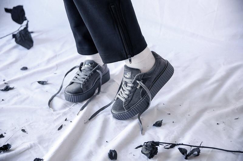 puma fenty grey velvet creepers