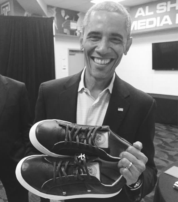 "Barack Obama with his GREATS Royale ""POTUS"" PE"