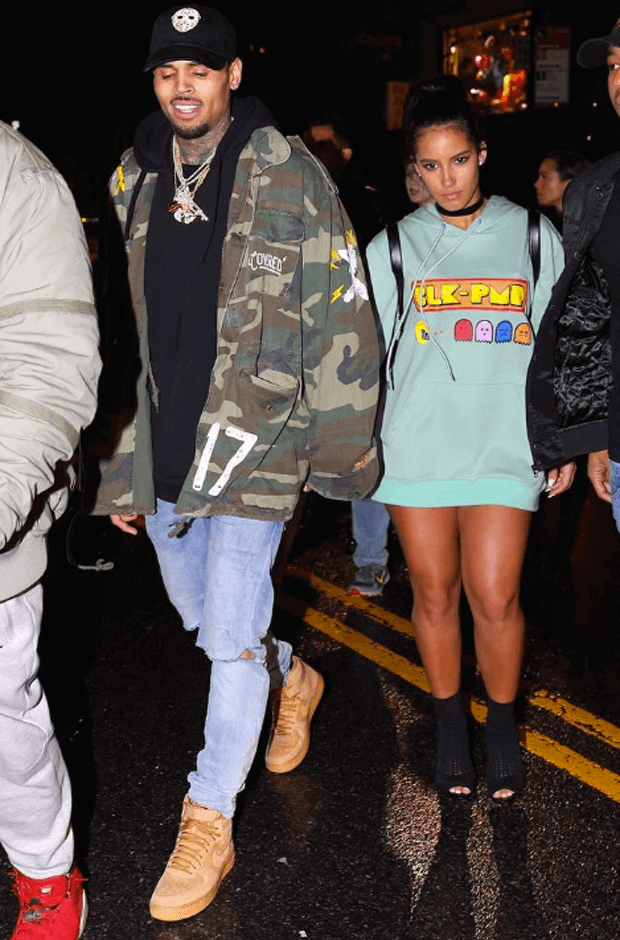 """Chris Brown in the Nike Air Force 1 High """"Flax"""""""