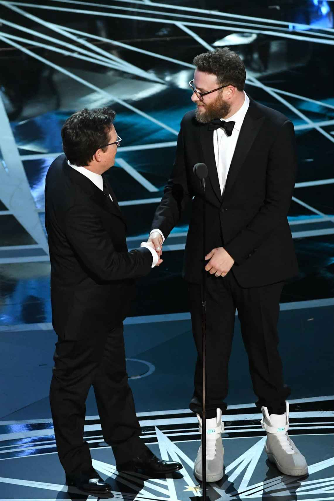 Seth Rogan in the Nike MAG with Michael J. Fox