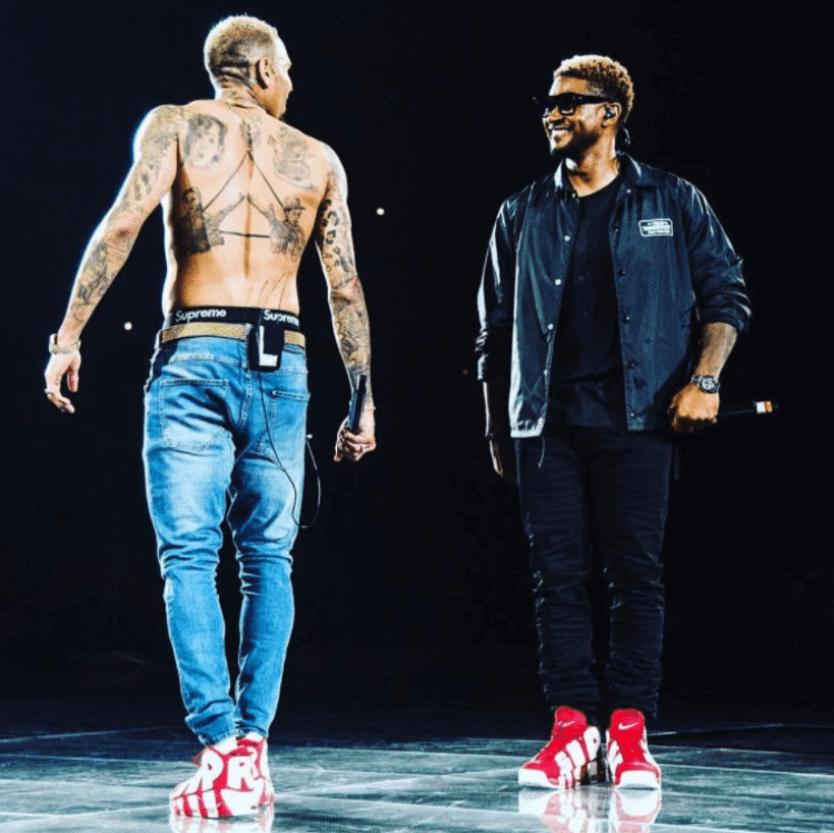 Chris Brown & Usher in the Supreme x Nike Air More Uptempo