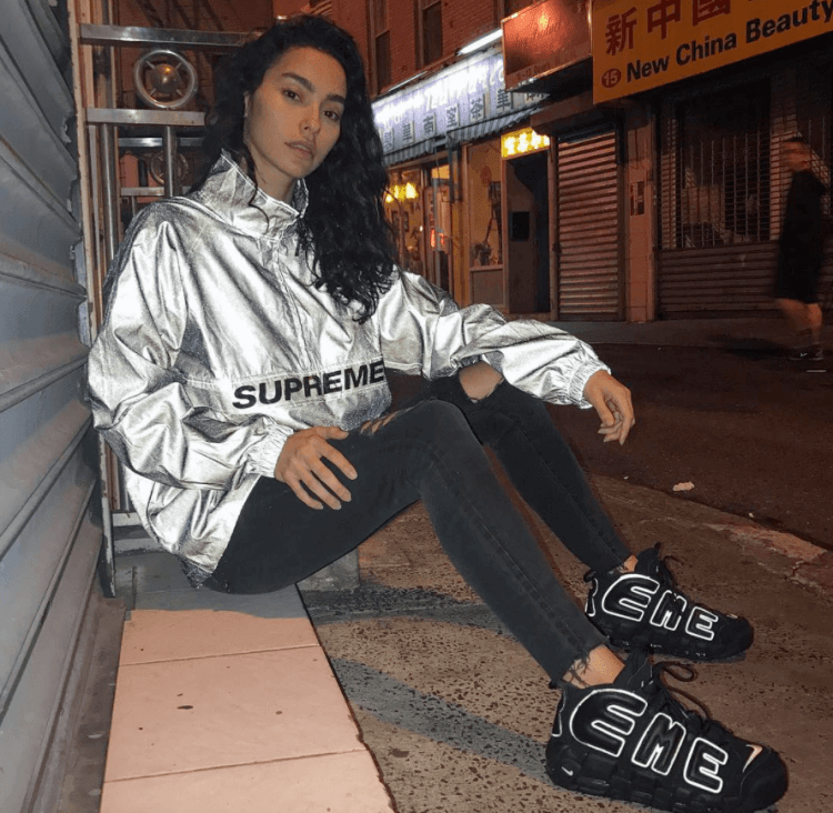 Adrianne Ho in the Supreme x Nike Air More Uptempo