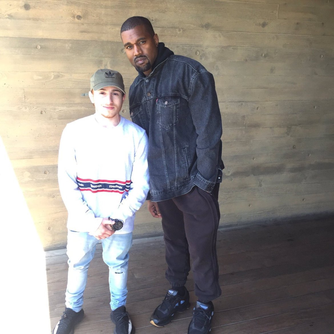 Kanye West in the Raf Simons x Adidas Ozweego Bunny Sneakers