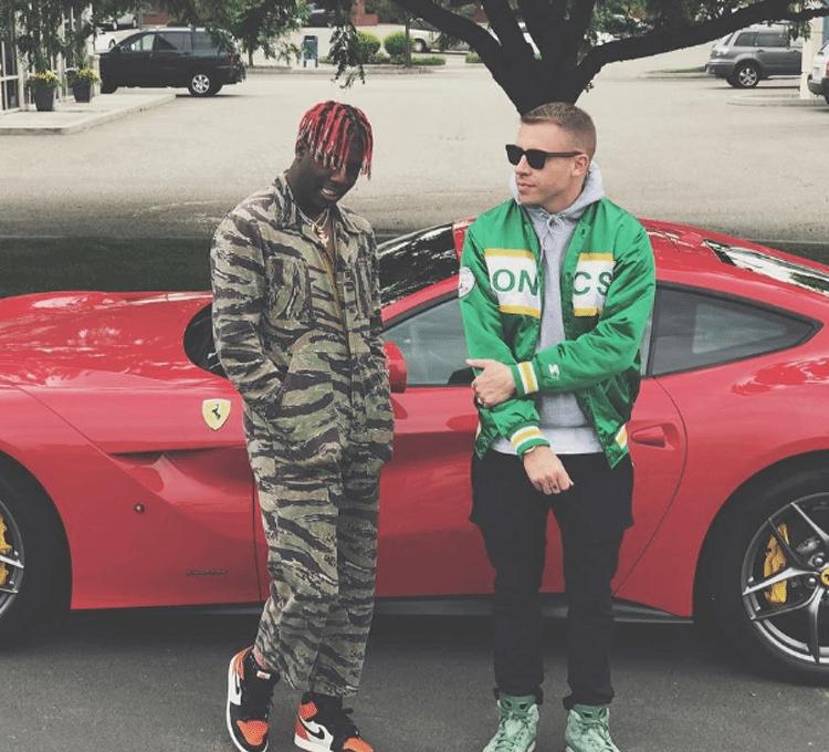 """Lil Yachty in the Air Jordan 1 """"Shattered Backboard"""" & Macklemore in his Air Jordan 6 PE"""