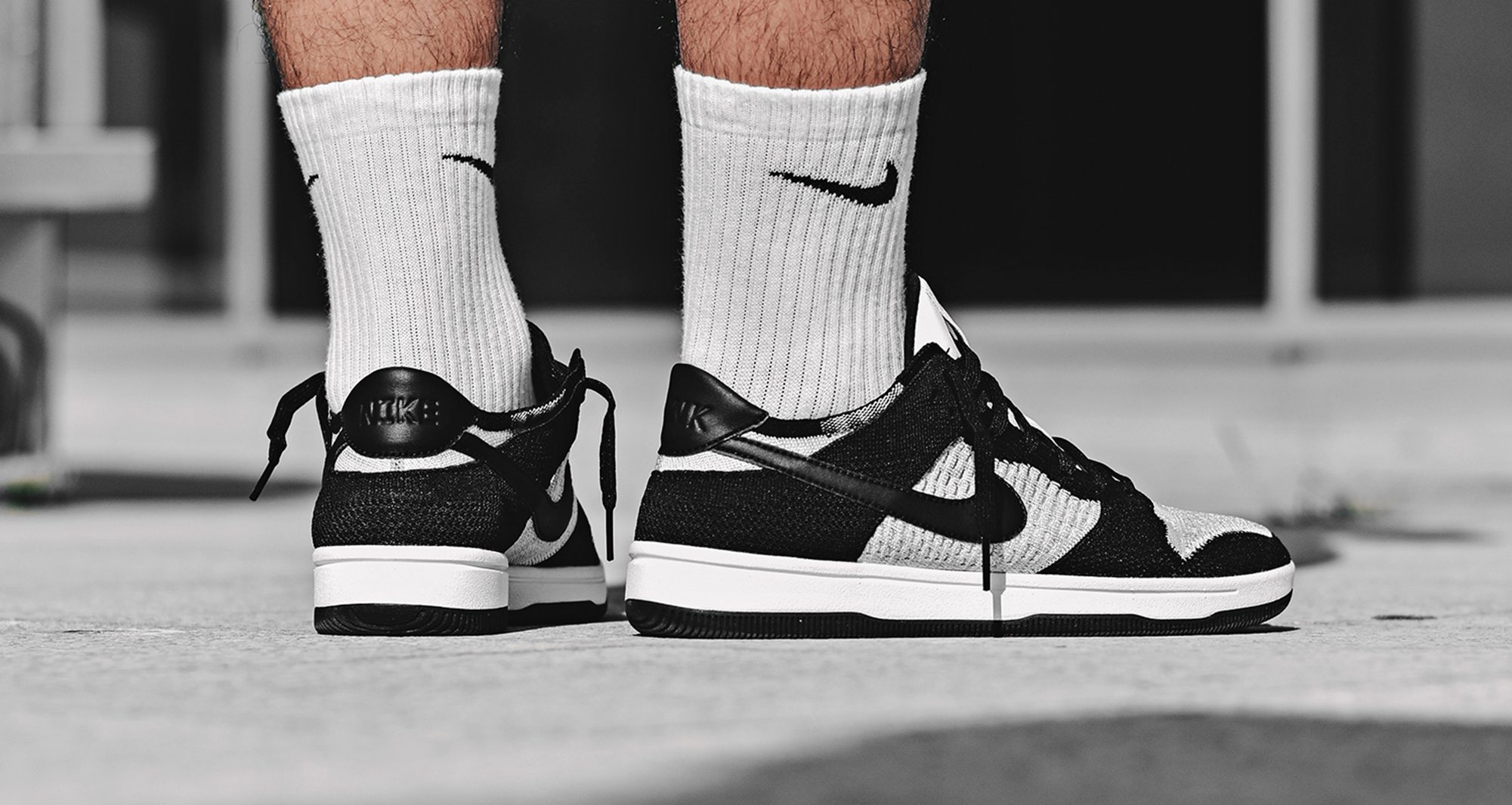 ca6c38e2e474f Nike Dunk Low Flyknit Black White    Available Now