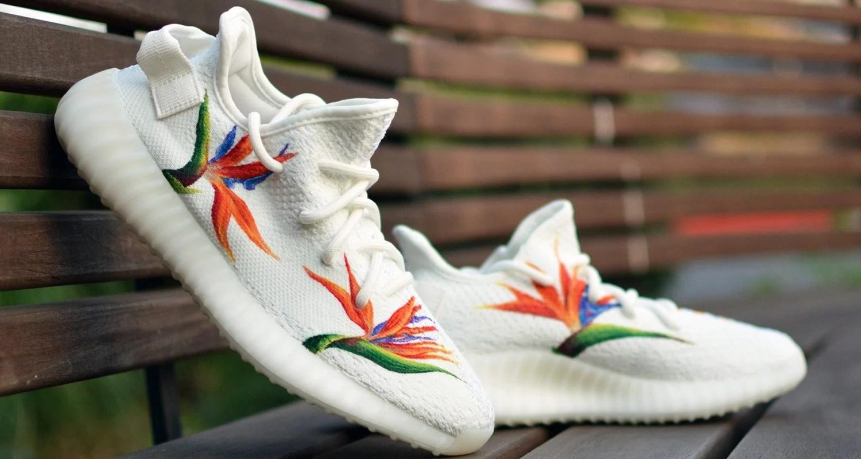 "4159122970d3 adidas Yeezy Boost 350 V2 ""Birds of Paradise"" Custom by Kendra s Customs"